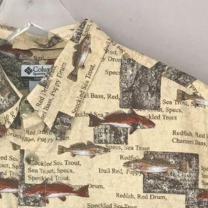 Columbia River Lodge Shirt All Over Fish Print M
